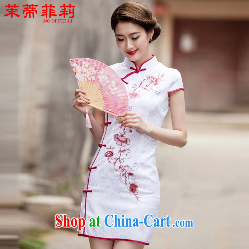 Renewable energy Mr. Philip Li Chinese female 2015 summer new Chinese Antique improved cultivating daily cheongsam dress white L