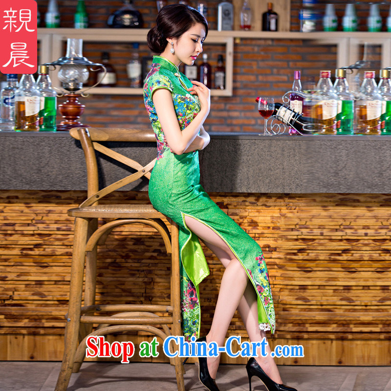 pro-am 2015 new daily improved fashion cheongsam dress summer, long, short-sleeved lace cheongsam dress green 2 XL