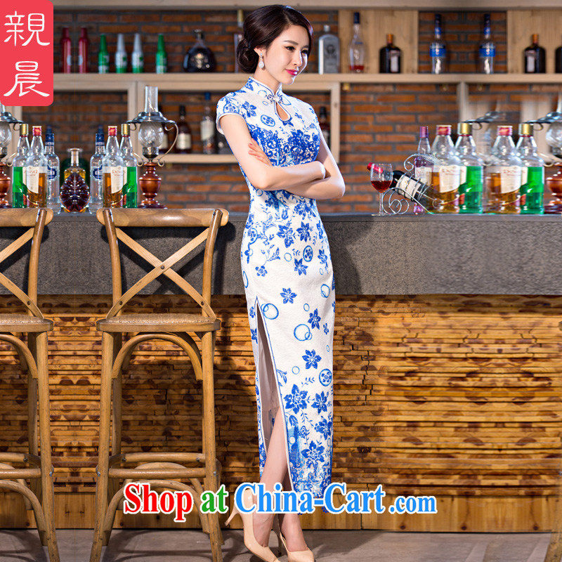 pro-am 2015 new cheongsam dress improved stylish summer day, Ms. retro long, short-sleeved cheongsam dress blue 2 XL