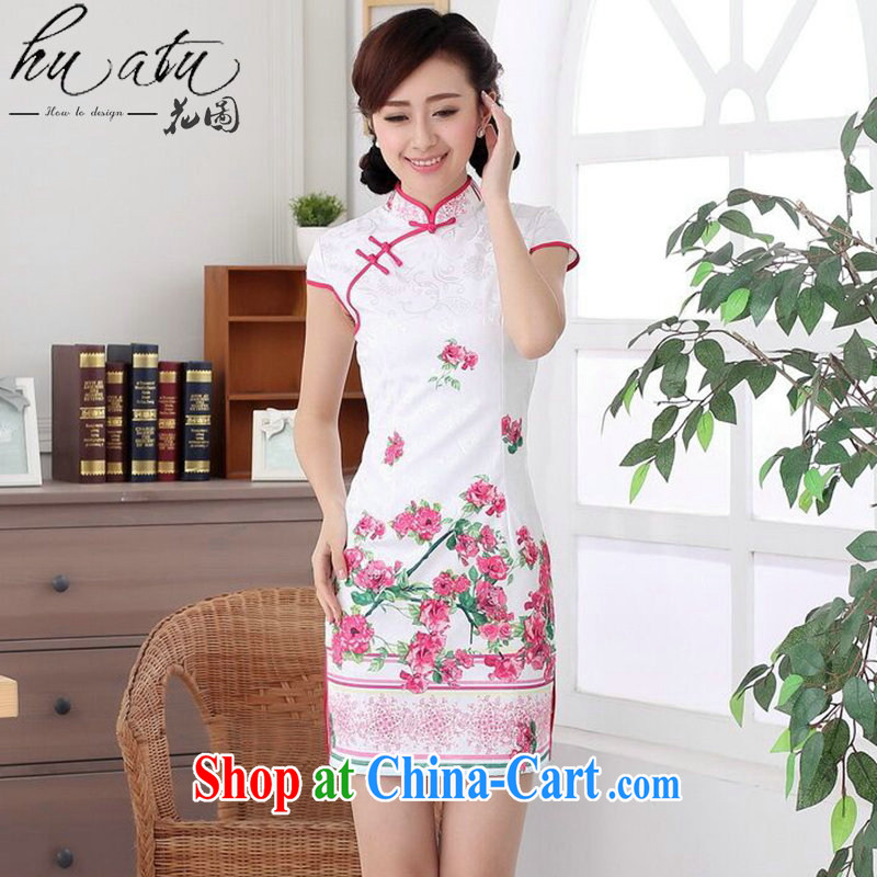 spend the summer with new female cheongsam Chinese Chinese improved, for a tight jacquard cotton style short cheongsam dress such as the color 2 XL