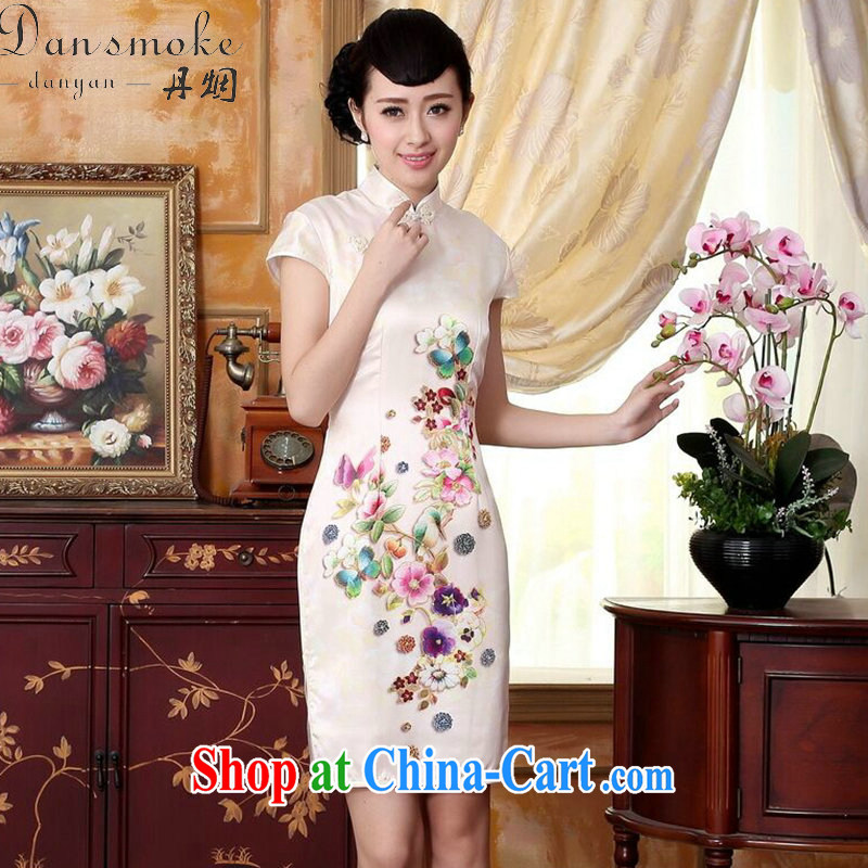 Dan smoke new summer colors of autumn Peony heavy silk positioning poster sauna silk stretch Satin dinner short cheongsam dress Wan-Kennedy Peony 2 XL