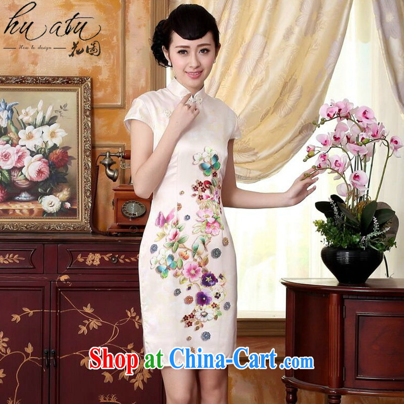 Take the new summer colors of autumn Peony heavy silk positioning poster sauna silk stretch Satin dinner short cheongsam dress Wan-Kennedy Peony 2 XL