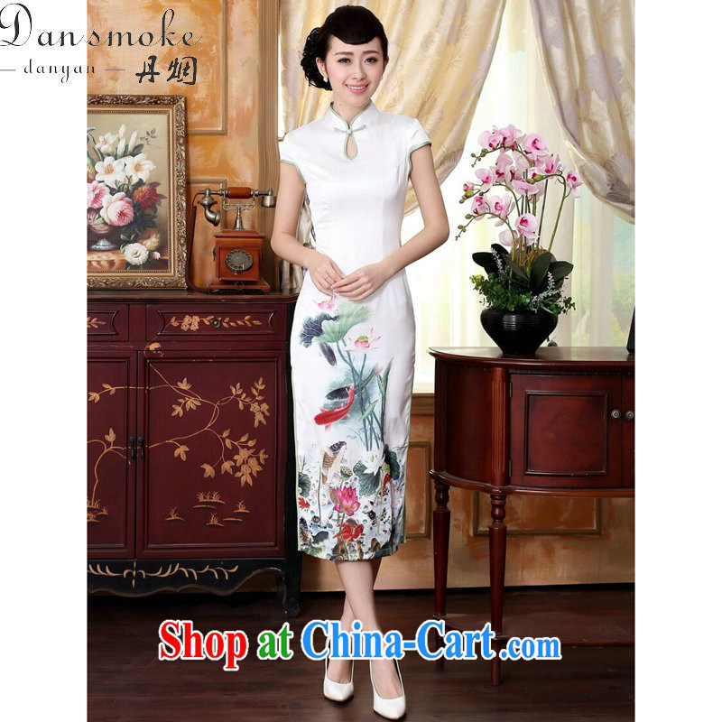 Bin Laden smoke-free summer new female qipao Cheong Wa Dae Yeon water droplets collar short-sleeve in cultivating long double dinner cheongsam dress such as the color 2 XL
