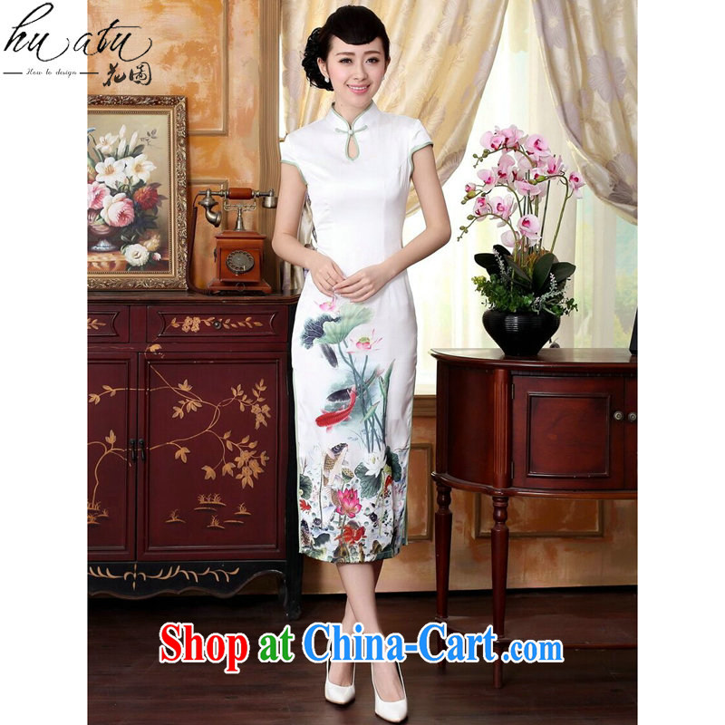 spend the summer new female qipao Cheong Wa Dae Lin I would be grateful if you could water droplets collar short-sleeve in cultivating long double dinner cheongsam dress such as the color 2 XL