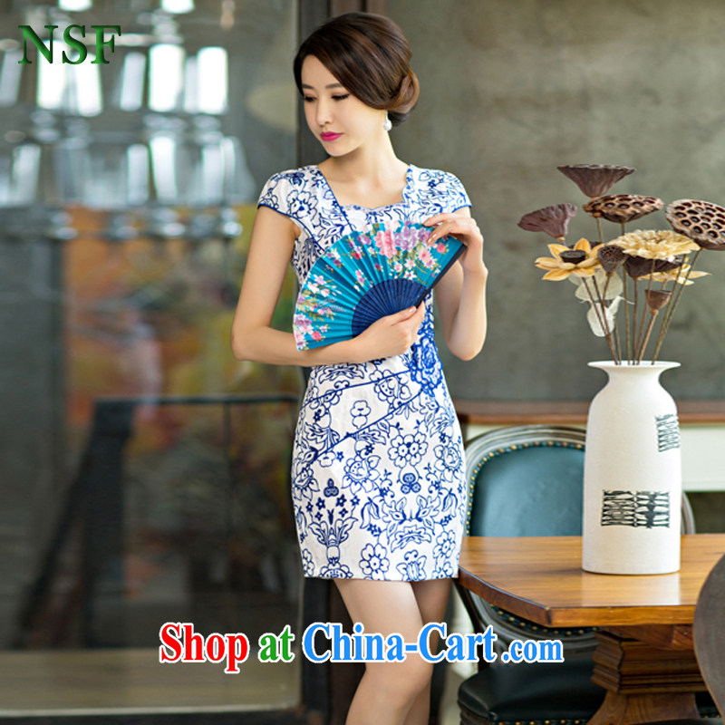 NSF summer 2015 new female short-day package and cheongsam Chinese improved stylish blue and white porcelain dress blue and white porcelain XXL