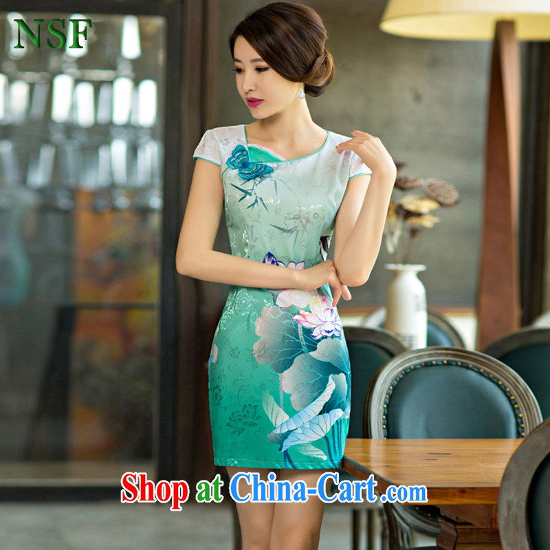 2015 NSF X summer new women replacing summer improved stylish Sau San Tong cheongsam with upscale attire dresses green XXL