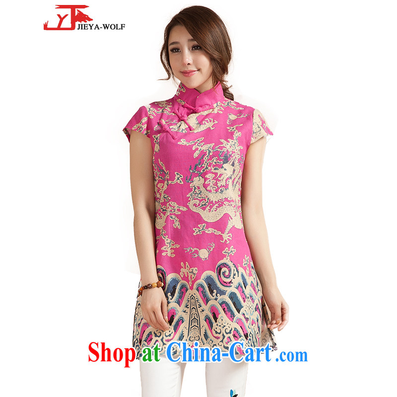 Jack And Jacob JIEYA - WOLF 15 new cheongsam dress summer Tang Women's clothes retro hand-tie cotton the sleeveless dresses cheongsam Chinese, pink XL