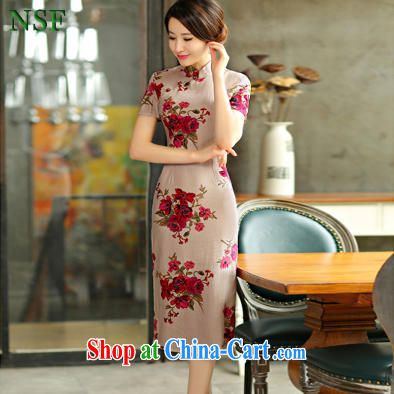 NSF 2015 spring and summer beauty retro graphics thin dresses short sleeves in the Code improved cotton Ma long cheongsam dress short dress with full 9009 XXL