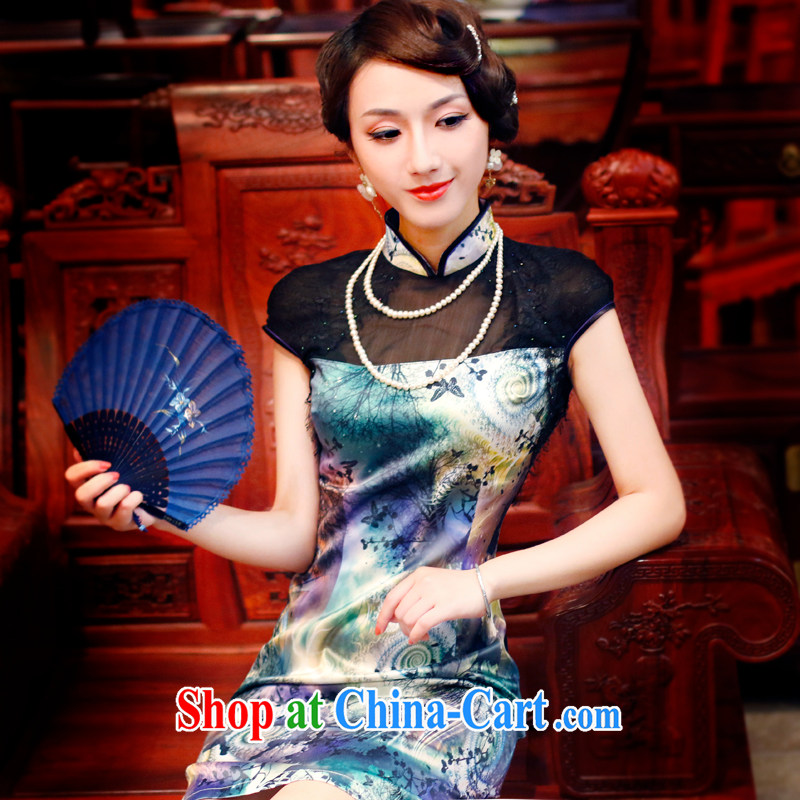 Unwind after the new 2015 cheongsam dress stylish stamp daily retro high-end dresses dresses 4339 new 4339 purple XXL
