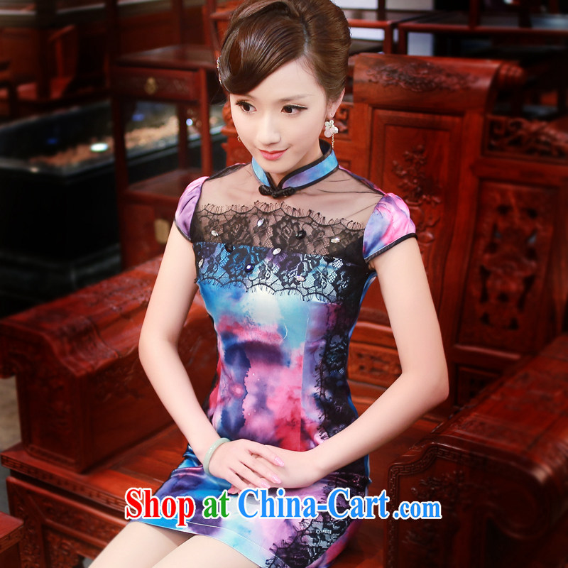 Unwind after the 2015 spring and summer new Stylish retro improved daily short-sleeved qipao dresses 4346 new 4346 blue-and-white XXL