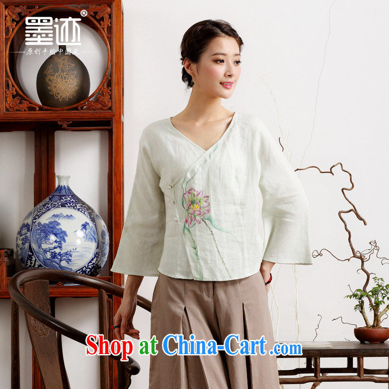 Ink 2015 new summer hand-painted linen Ethnic Wind Han-retro art van T-shirt the meticulous Lotus -- White XXL