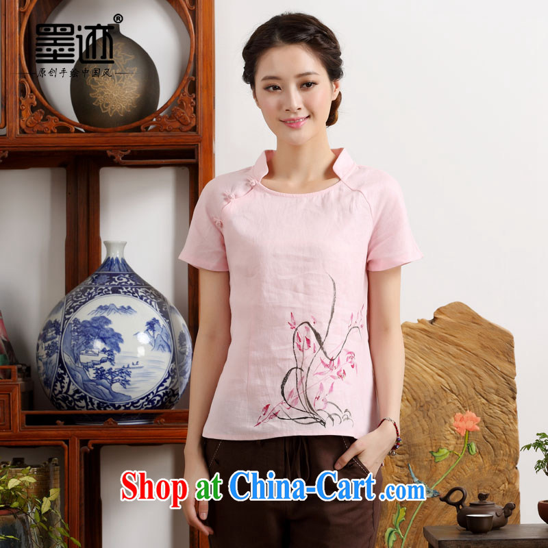 Ink cotton the new summer hand-painted dress ethnic wind retro improved Han-art nouveau linen short-sleeve girls pink M