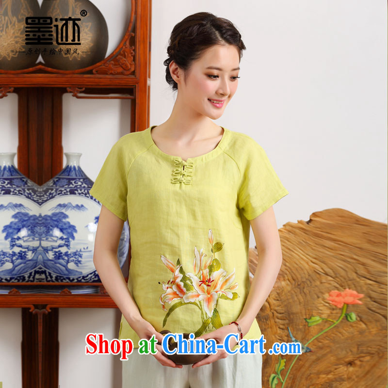 Ink China wind summer girls T-shirt short-sleeved linen clothes, girls improved Chinese cotton Ma blouses female yellow XXL