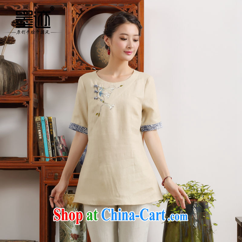 Ink 2015 new summer hand-painted Ethnic Wind, clothing, hand-painted the meticulous convolvulus -- a short-sleeved shirt T beige XXL