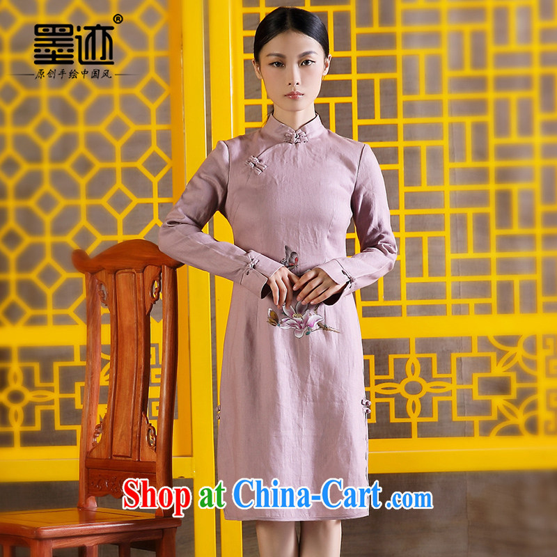 Ink hand-painted Chinese linen Lotus retro Pink dresses light purple XXL