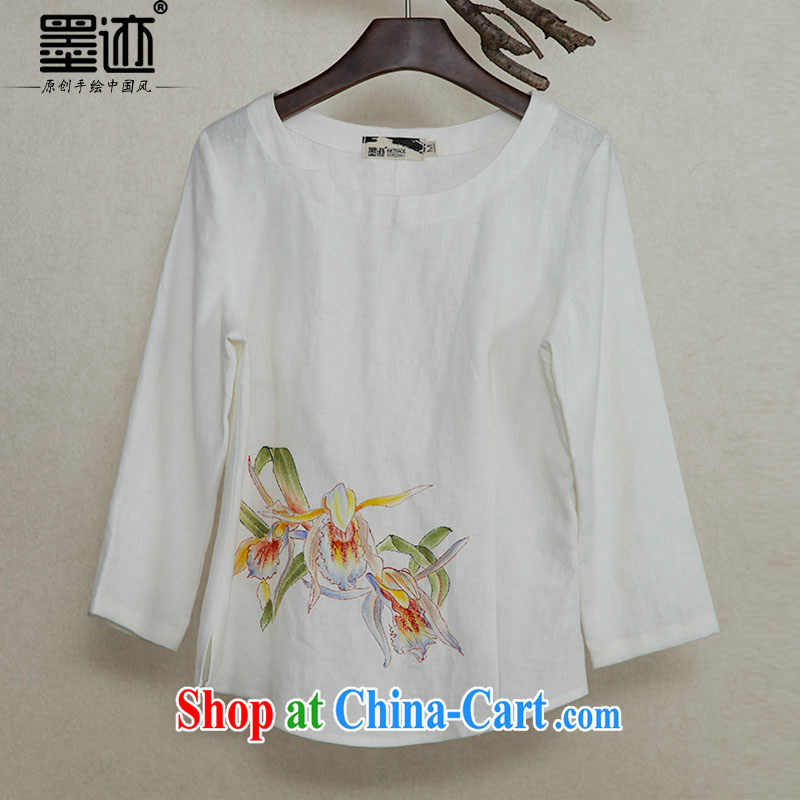 Ink original Ethnic Wind cotton Ma Literary Chinese hand-painted antique Chinese Han-solid long-sleeved T-shirt ladies white XXL