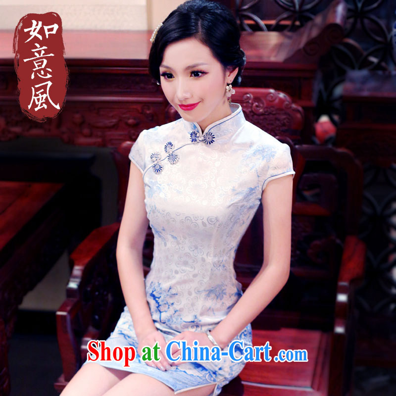 ruyi, 2015 new summer elegant the forklift truck improved high fashion cheongsam dress retro dresses 4907 new 4907 fancy XXL