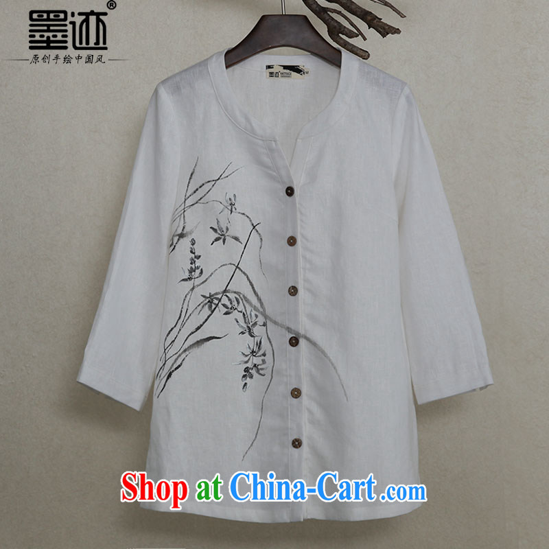Ink improved Chinese Ethnic Wind cotton Ma shirt retro hand-painted art tea serving Chinese Han-T-shirt ladies white S - pre-sale 5 days