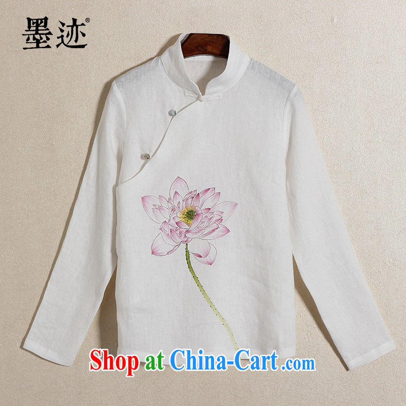 Ink 2015 new Chinese wind hand-painted Lotus cotton the Commission retreat serving female Chinese improved Chinese female Han-female white XXL