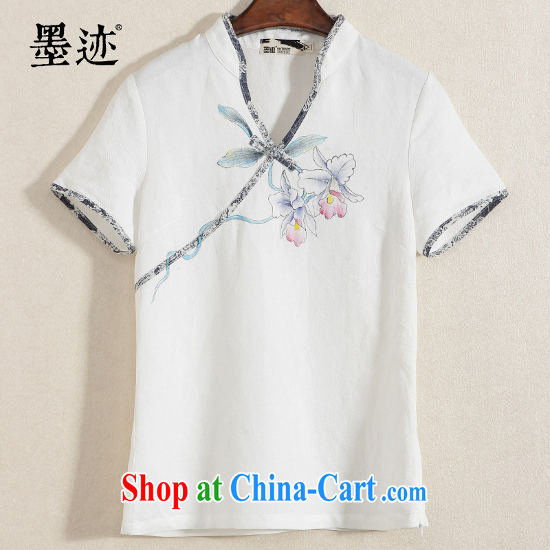 Mr Ronald ARCULLI ink loading new items~ Orchid Chinese T-shirt Lady Han-linen short-sleeve shirt T ethnic wind jacket white XXL