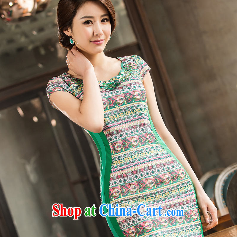 No, the mother is the cheongsam, dress 2015 new, Mr Ronald ARCULLI, the waist Ethnic Wind streaks antique qipao green XXXL