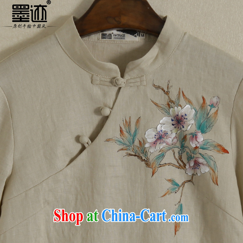 Ink spring new hand-painted cotton the long-sleeved daily Han-chinese improved Chinese linen national T-shirt girl card its color XXL