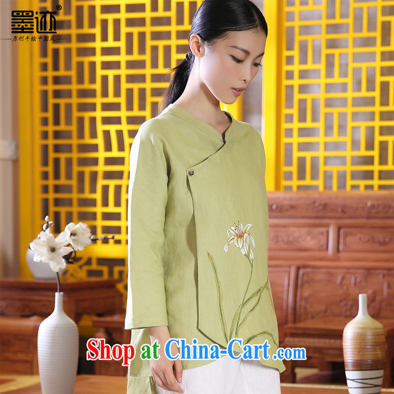 Ink 2014 autumn basket with the original Tang women improved Han-female retro ethnic wind dress hand-painted Xuan take light green XXL