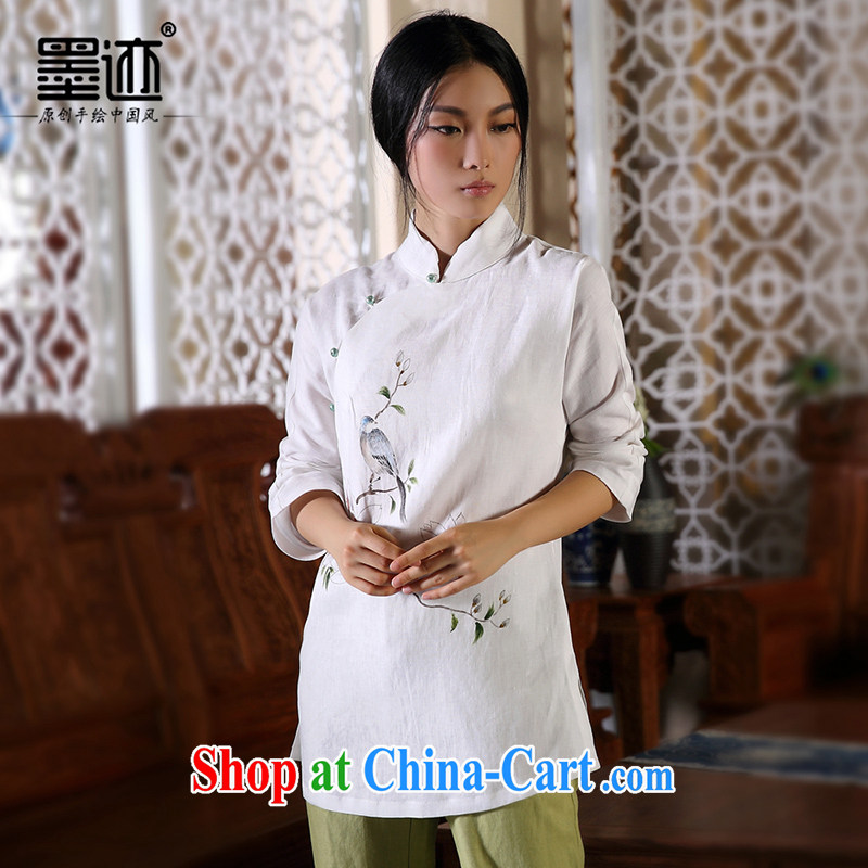 ink in the autumn bird fall and winter New Products hand-painted cotton the Chinese girl Chinese Han-ethnic wind jacket white XXL