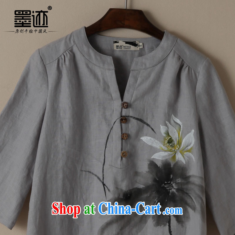 Ink cotton Ma Tang load new spring and autumn loose linen hand painted art on van loose impressionistic Lotus linen XXL