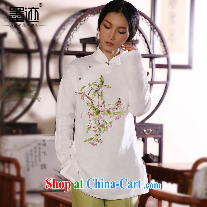 Ink 2014 winter new hand-painted cotton the Chinese female Chinese Han-T-shirt ethnic wind retro jacket white XXL