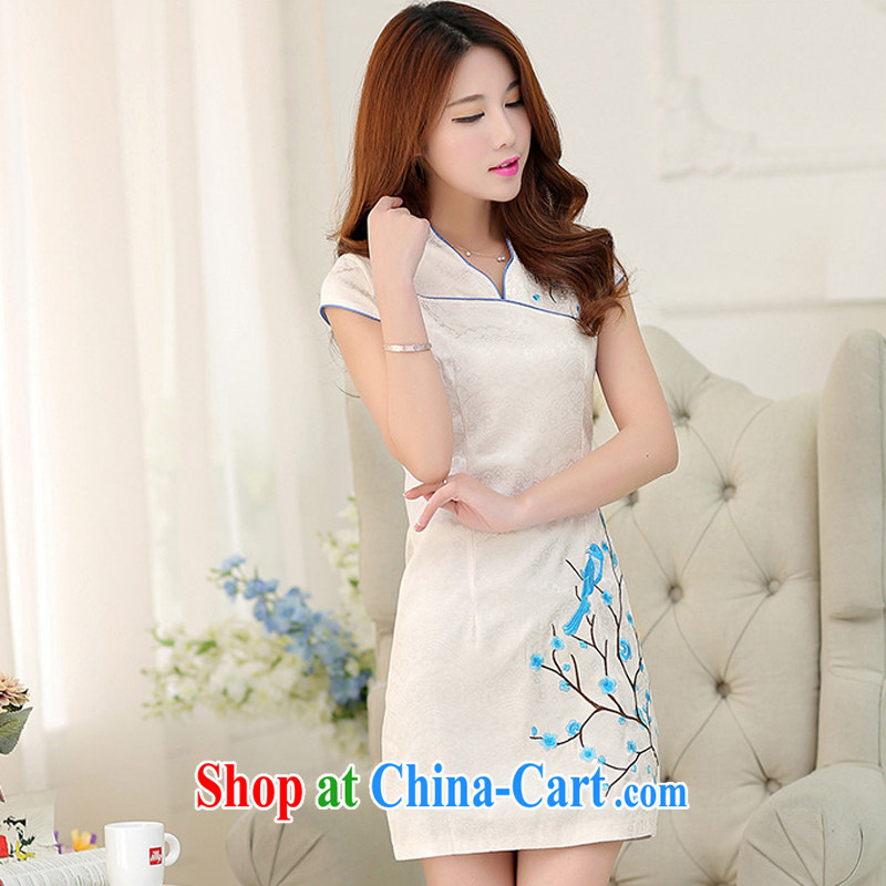 Energy Mr. Philip Li cheongsam dress 2015 summer new stylish beauty short improved retro dress beige XL
