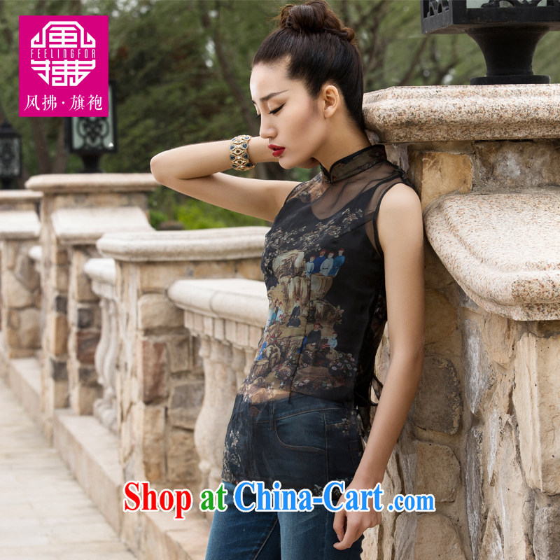 Wind Blowing summer 2015 new female Chinese style improved the root yarn Sleeveless T-shirt XXL, wind blowing (feelingfor), shopping on the Internet