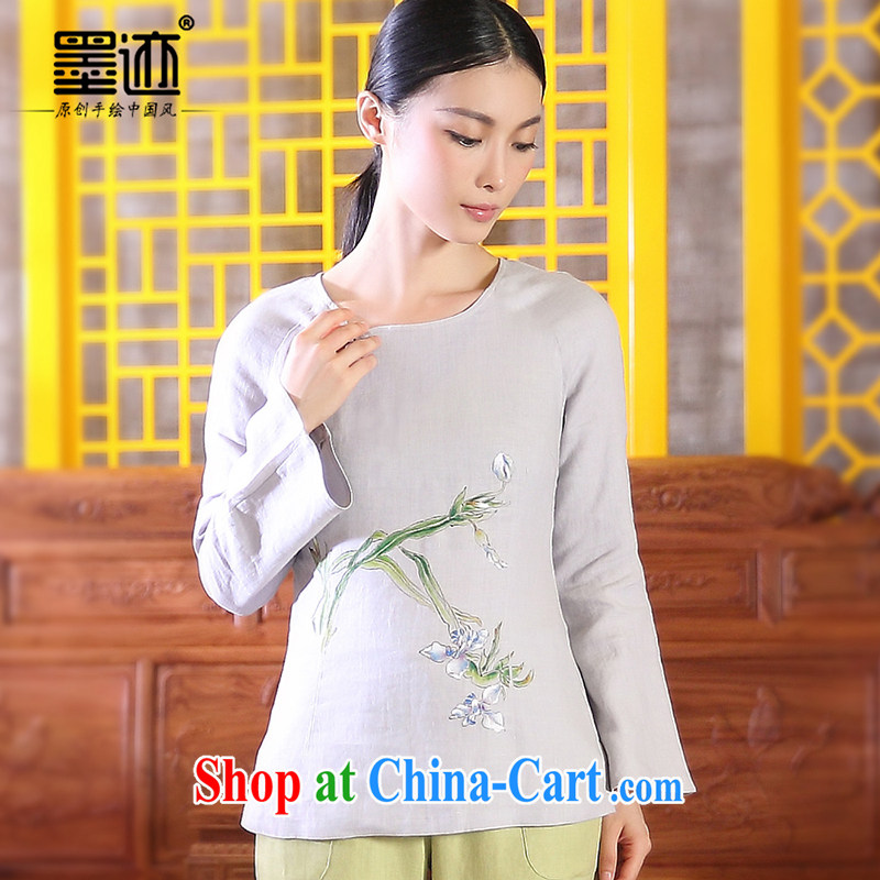 Ink valleys in the autumn, the Han-girls cotton Ma Tang women mounted on antique Chinese women linen light gray XXL