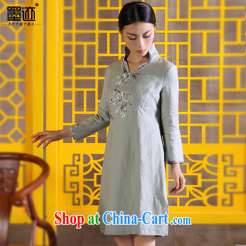 Ink cotton Ma Choo women retreat linen clothes Chinese Ethnic Wind improved Han-retro hand-painted art women dress light gray XXL
