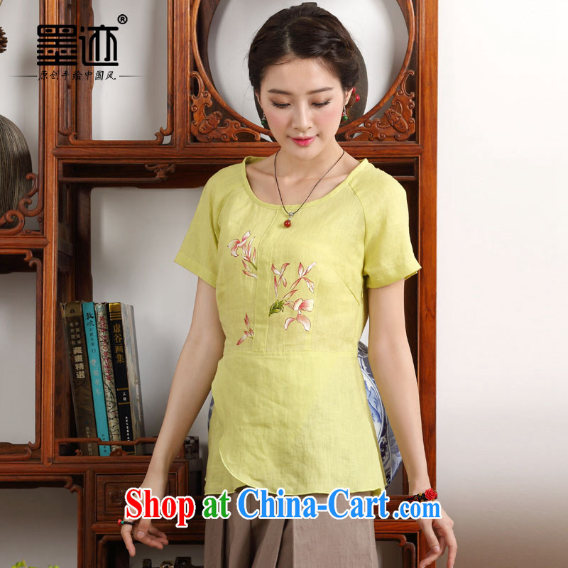 Ink 2015 new summer hand-painted improved Chinese girl flouncing linen electoral meticulous orchids -- yellow XXL