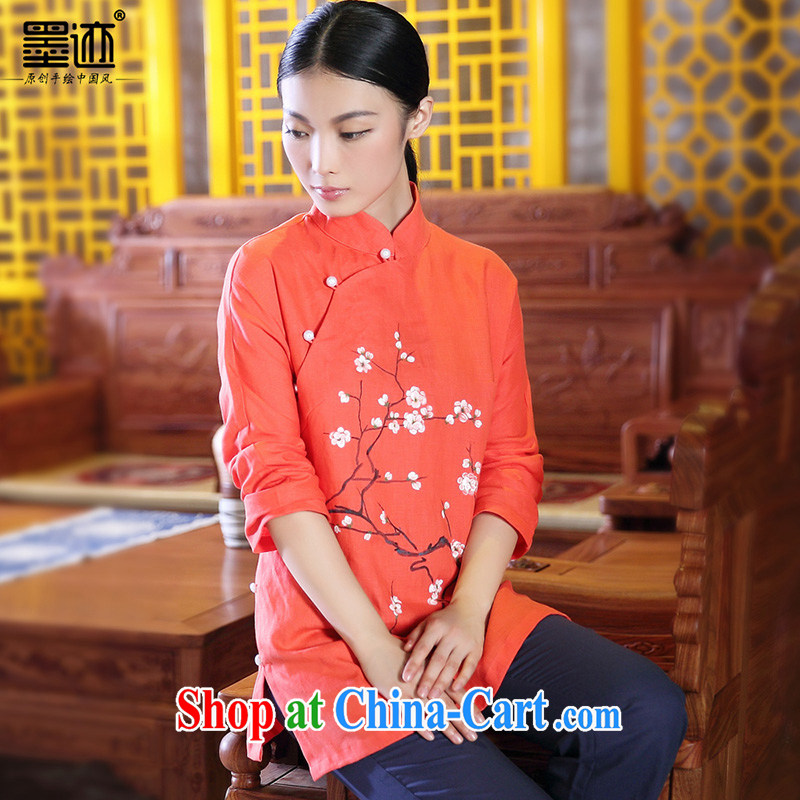 Ink winter new hand-painted cotton the Chinese female Chinese Han-T-shirt ethnic wind retro jacket red XXL