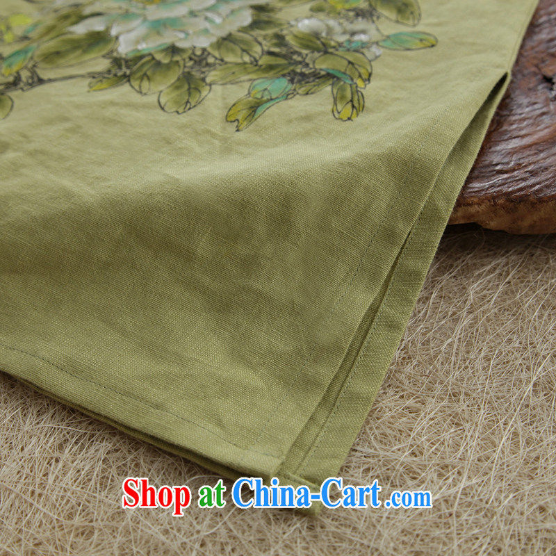 Ink meticulous cuckoo original design arts and cultural, ethnic wind cotton the Girls fall on China wind Chinese large, female Green XXL, ink, and shopping on the Internet