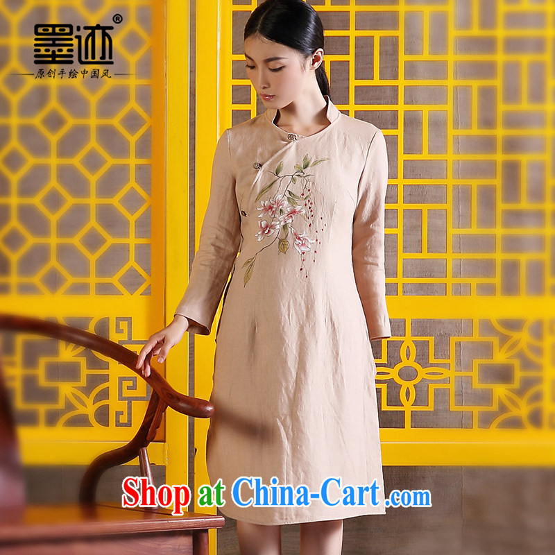 Ink cotton Ma Choo women retreat linen clothes Chinese Ethnic Wind improved Han-retro hand-painted art girls dresses light coffee XXL
