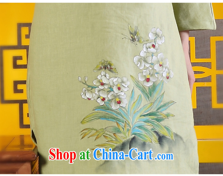 Ink 2015 spring female new Chinese Ethnic Wind improved Han-retro hand-painted art linen dresses light green XXL pictures, price, brand platters! Elections are good character, the national distribution, so why buy now enjoy more preferential! Health