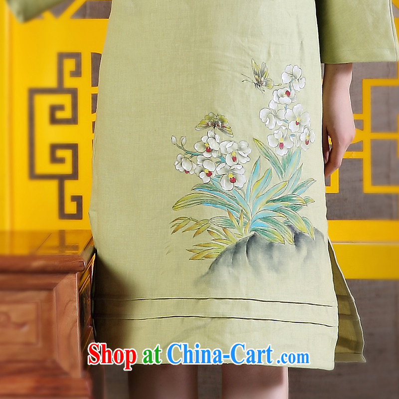 Ink 2015 spring female new Chinese Ethnic Wind improved Han-retro hand-painted art linen dresses light green XXL, ink, and shopping on the Internet
