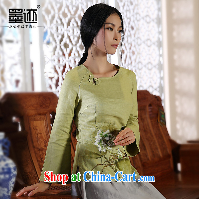 Autumn marks the National wind hand-painted Lotus Chinese cotton Ms. Ma improved Han-Chinese girls blouses green XXL