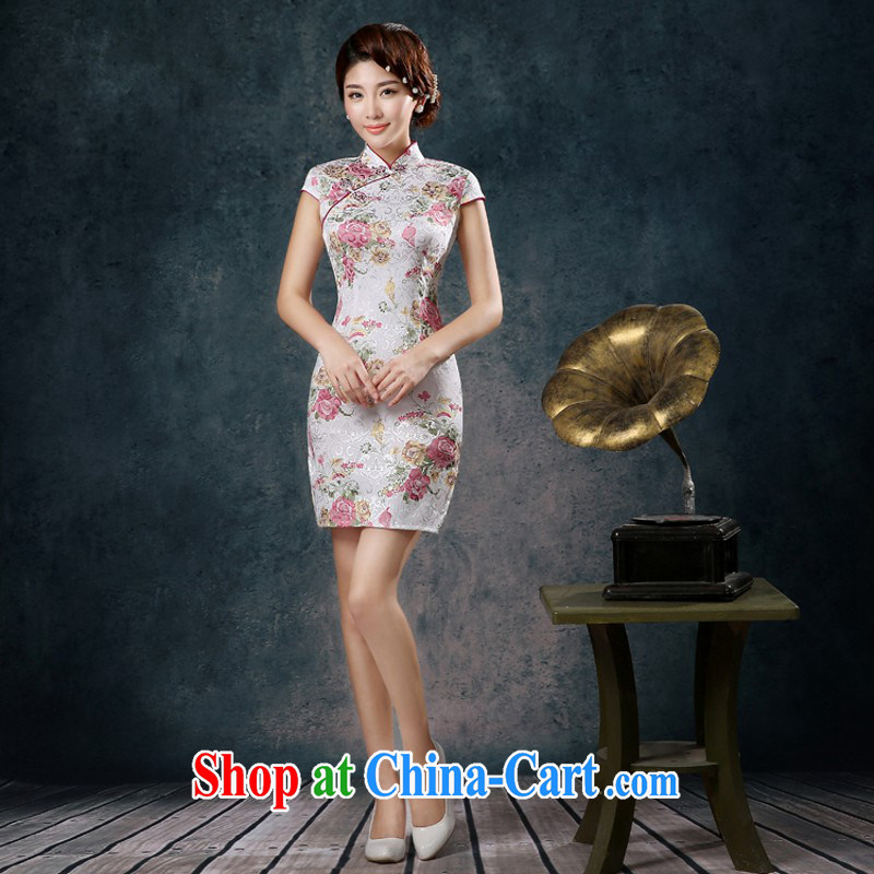 Summer new short cheongsam beauty retro style improved stylish girl hand painted Orchid cheongsam dress wholesale dresses B XXL need to do not support replacement