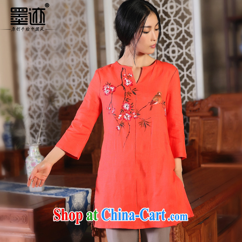 Mahogany oriole ink 2015 cotton Ma original relaxed linen Girls fall the arts van cotton Ma ethnic wind red-orange red XXL