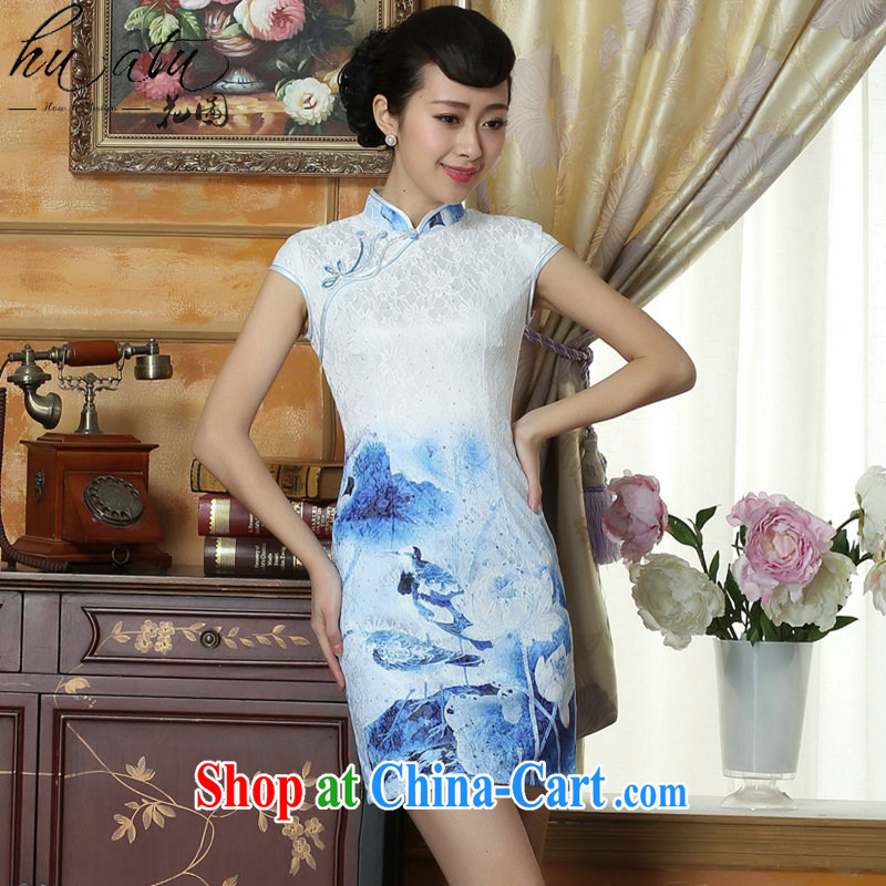 spend the summer new cheongsam dress everyday lace cheongsam dress Stylish retro beauty improved elegant short dresses such as the color 2 XL