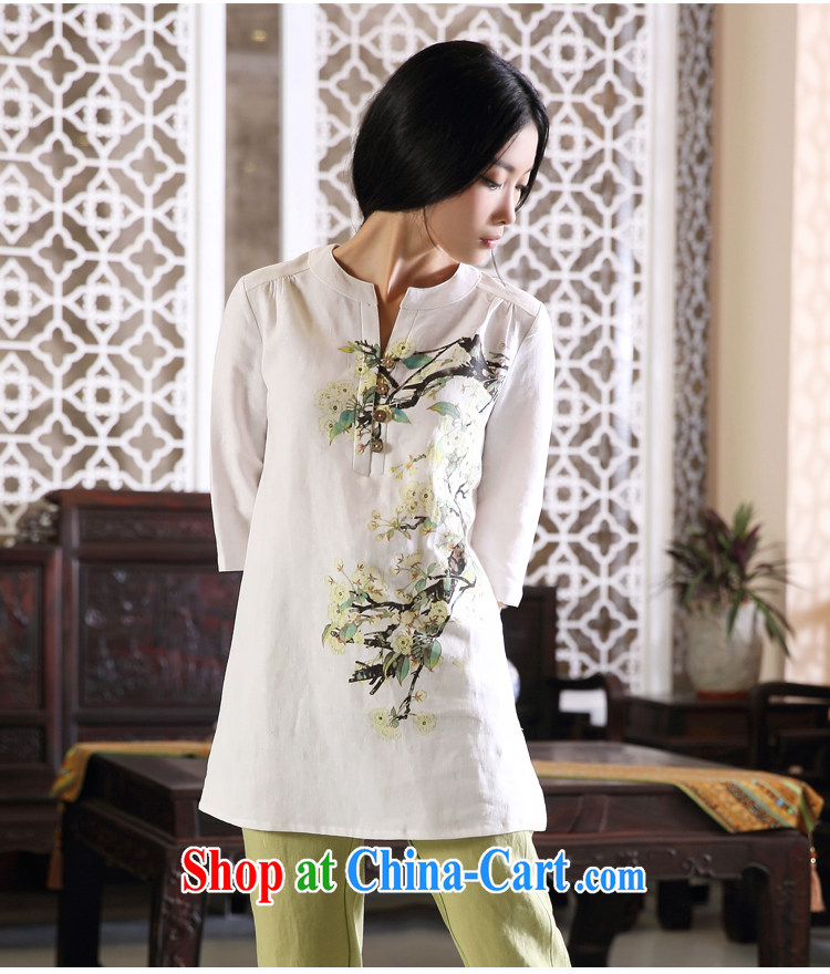 Ink Ewha rain fall basket with the female linen Chinese Han-Chinese girl T-shirt hand-painted art Ethnic Wind white XXL pictures, price, brand platters! Elections are good character, the national distribution, so why buy now enjoy more preferential! Health
