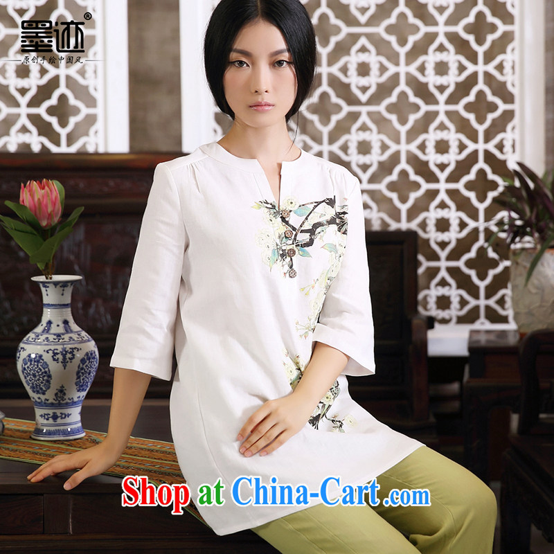 Ink Ewha rain fall basket with the female linen Chinese Han-Chinese girl T-shirt hand-painted art Ethnic Wind white XXL