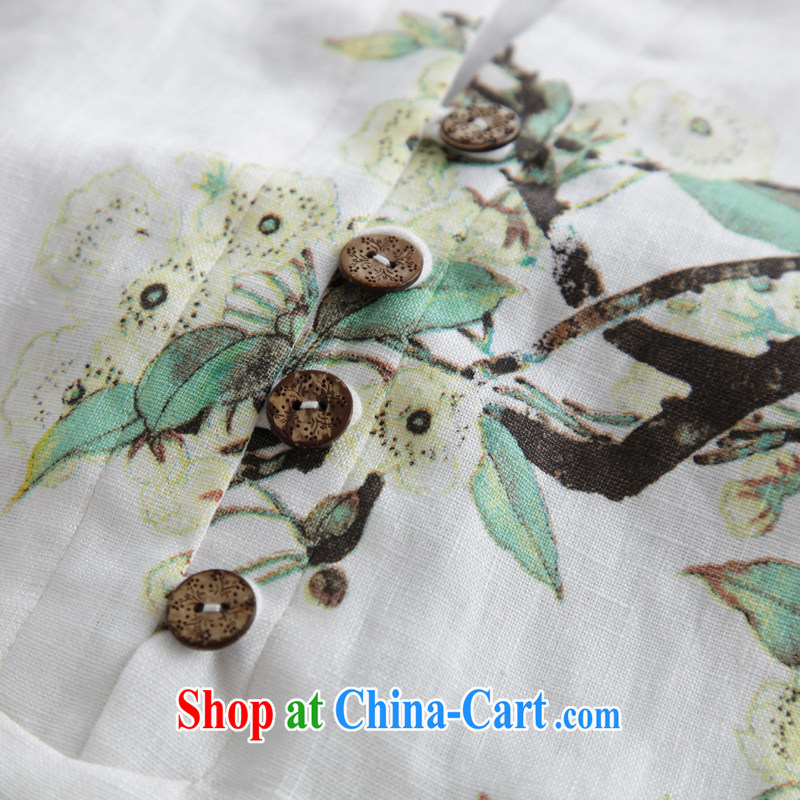 Ink Ewha rain fall basket with the female linen Chinese Han-Chinese girl T-shirt hand-painted art Ethnic Wind white XXL, ink, and shopping on the Internet