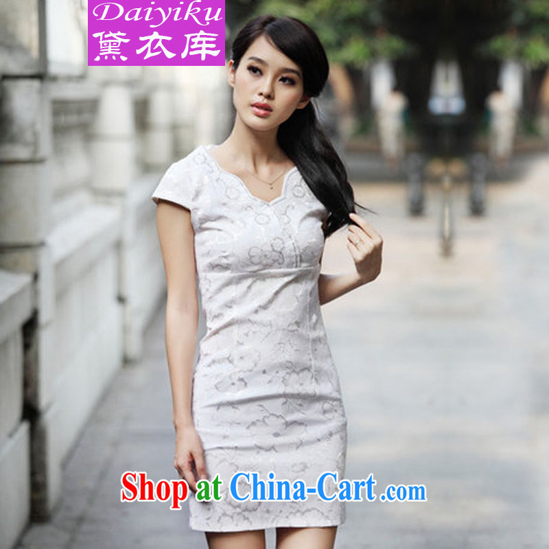Diane Yi Library 2015 summer new stylish embroidered improved cheongsam summer Chinese daily retro cheongsam dress girls pink XL