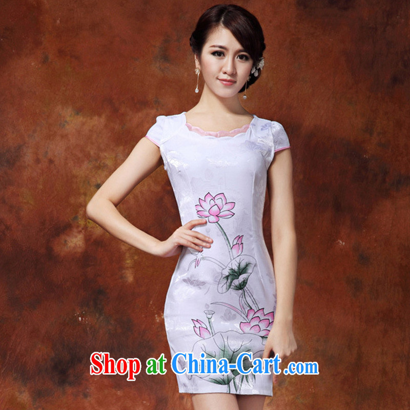 Yet the 2015 women's clothing dresses spring and summer improved stylish short retro dresses dresses daily dress cheongsam dress further skirt white XXL
