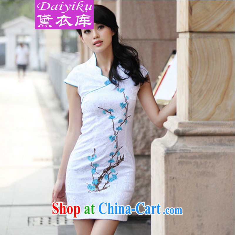 Diane Yi Library 2015 beautification embroidery summer skirt outfit improved cheongsam stylish blue XL